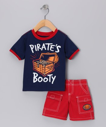 Navy 'Pirate's Booty' Tee & Red Cargo Shorts - Toddler & Boys