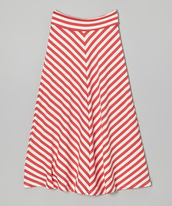 Coral & Off-White Chevron Maxi Skirt - Toddler & Girls
