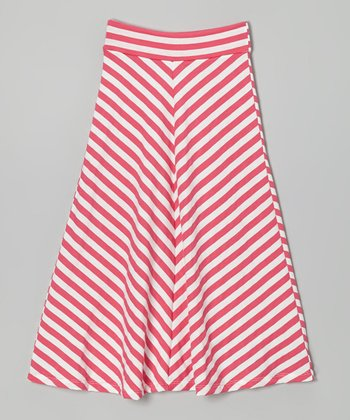 Hot Pink & Off-White Chevron Maxi Skirt - Infant, Toddler & Girls