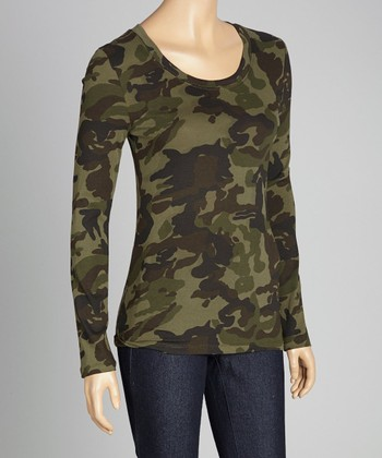 Dark Olive Camo Long-Sleeve Top