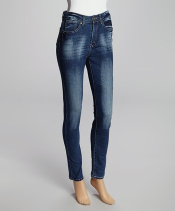 Dark Blue Faded Super High Rise Skinny Jeans