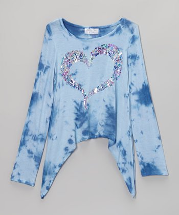 Blue Sequin Heart Tie-Dye Sidetail Top