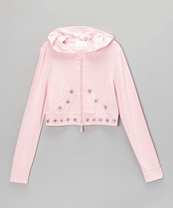 Light Pink Rhinestone Crop Zip-Up Hoodie