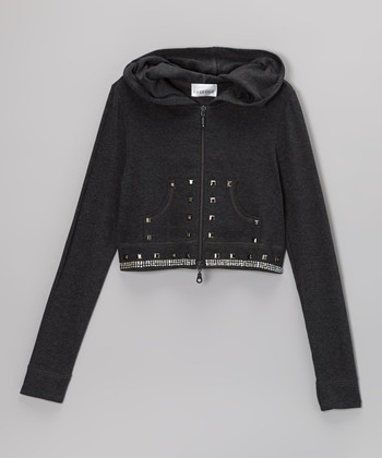 Charcoal Stud Crop Zip-Up Hoodie