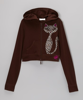 Chocolate Rhinestone Cat Crop Zip-Up Hoodie