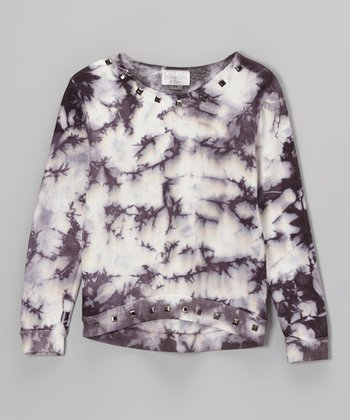 Black & White Stud Tie-Dye Fleece Sweatshirt