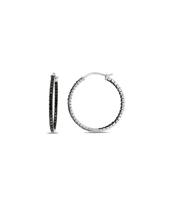Black Diamond Thin Hoop Earrings