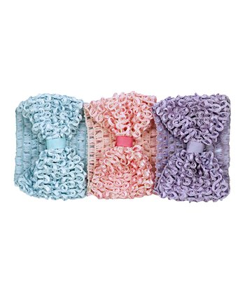 Pink, Blue & Lilac Crocheted Headbands - Set of Three