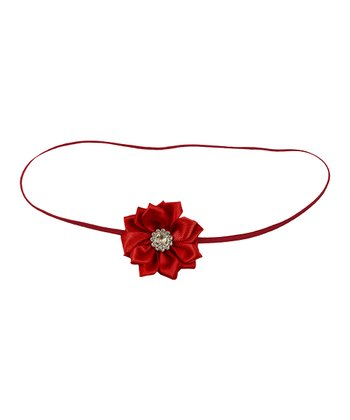 Red Rhinestone Flower Satin Headband