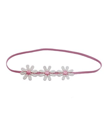 Pink & White Triple Flower Lace Headband