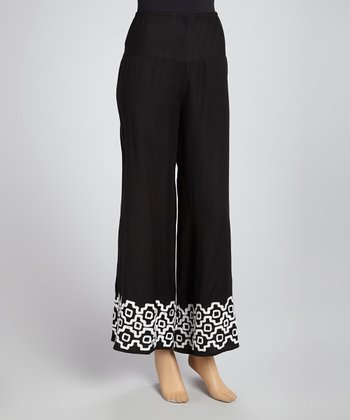 Black & White Tribal Trim Palazzo Pants - Women