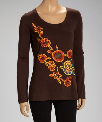 Brown Fire Flower Top