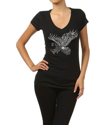 Black Eagle Embellished Tee