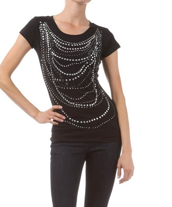 Black Stud Embellished Tee