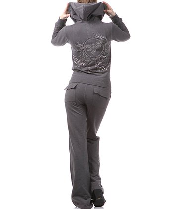 Charcoal Embellished Eagle Hoodie & Lounge Pants