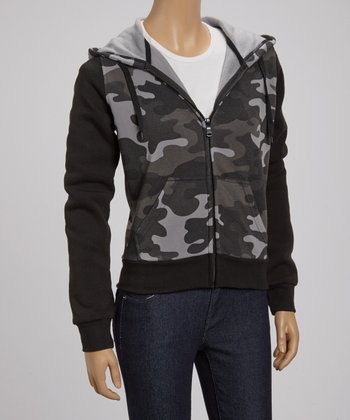 Black Camo Fleece Zip-Up Hoodie