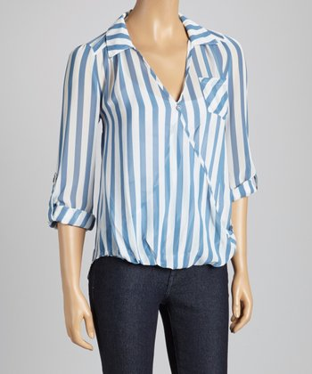Blue & White Stripe Surplice Top