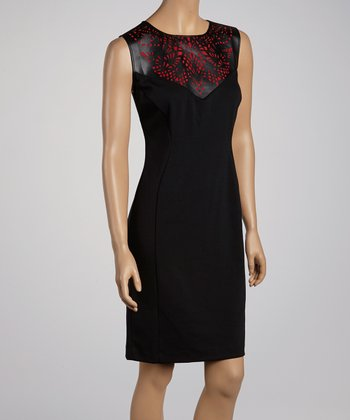Red & Black Cutout Sheath Dress
