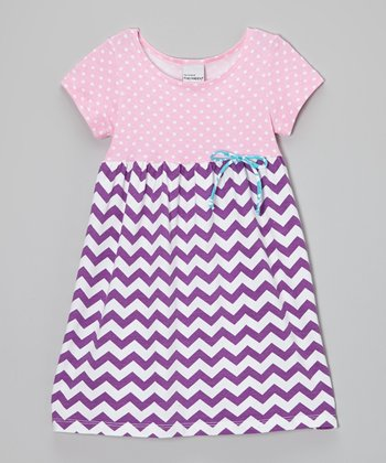 Plum Zigzag & Polka Dot Dress - Infant, Toddler & Girls