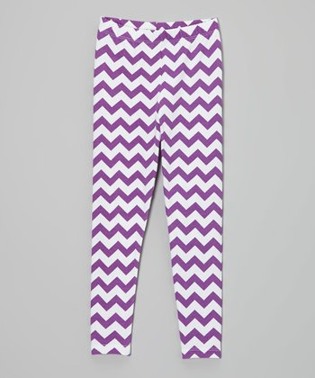 Plum Zigzag Leggings - Infant, Toddler & Girls