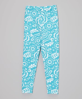 Blue Floral Leggings - Infant, Toddler & Girls