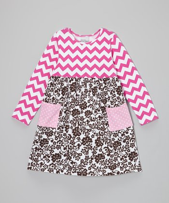 Cocoa & Fuchsia Zigzag Floral Dress - Infant, Toddler & Girls