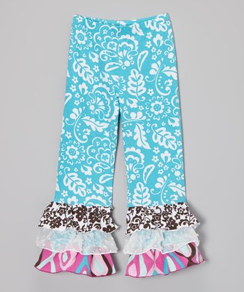 Blue Floral Ruffle Pants - Infant, Toddler & Girls