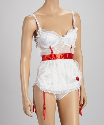 Red & White Sheer Lace Apron & Hipster - Women