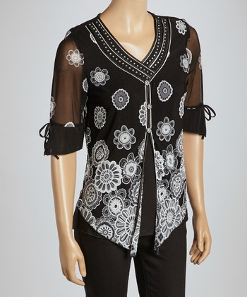 Black & Gray Floral Sheer Button-Up Top