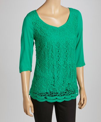 Emerald Floral Crocheted V-Neck Top