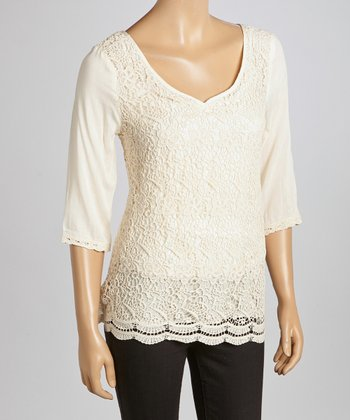 Natural Floral Crocheted V-Neck Top