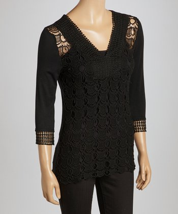 Black Scalloped Crocheted V-Neck Top