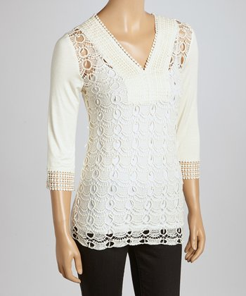Ivory Scalloped Crocheted V-Neck Top