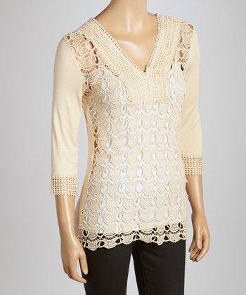 Taupe Scalloped Crocheted V-Neck Top