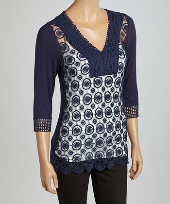 Navy Circles Crocheted V-Neck Top