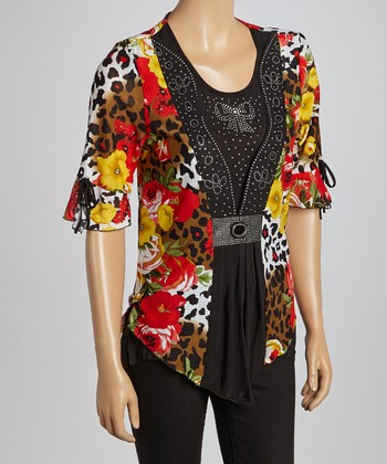 Black & Red Jungle Layered Top