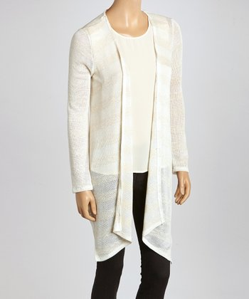 Ivory Stripe Long Open Cardigan