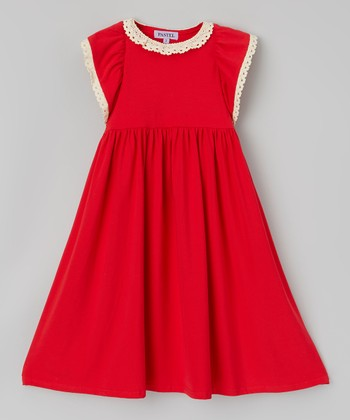 Red & White Crochet Collar Dress - Toddler & Girls