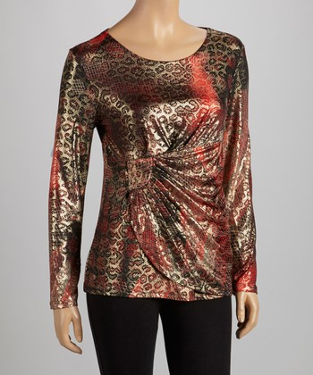 Red & Gold Metallic Jungle Boat Neck Top
