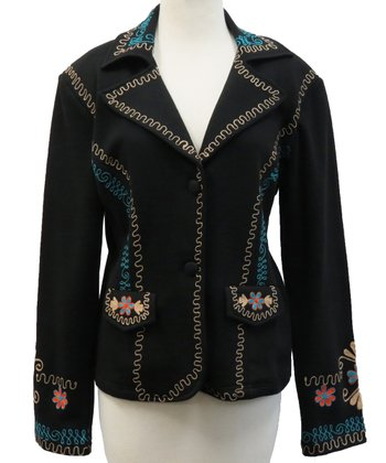 Black Embroidered Demi Jacket