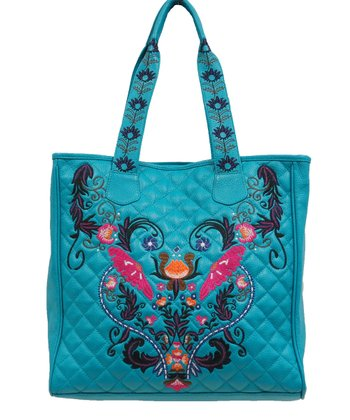 Turquoise Embellished Leather Quilted Tote