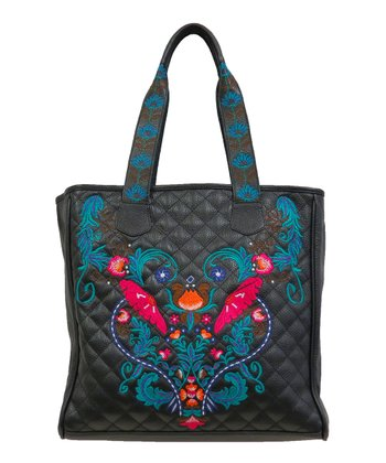 Black Embellished Leather Quilted Tote