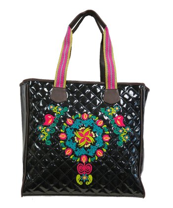 Black Embellished Vinyl Quilted Tote