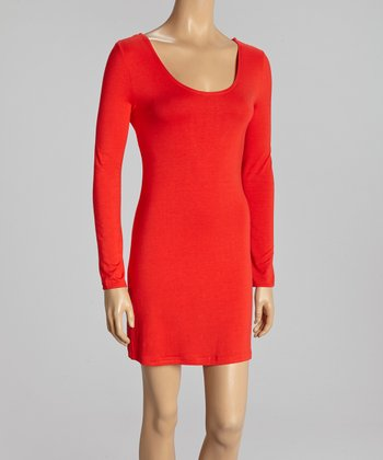 Red Scoop Neck Tunic