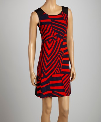 Black & Red Abstract Dress