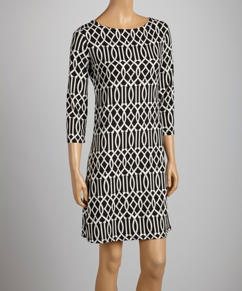 White & Black Lattice Dress