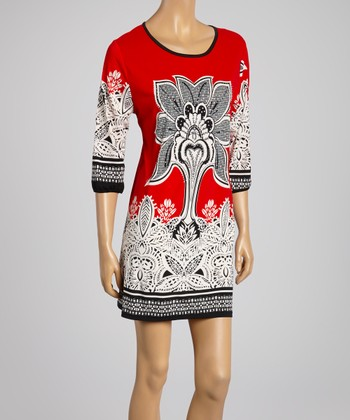 Red Three-Quarter Sleeve Dress