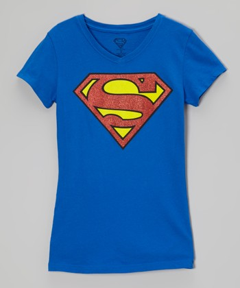 Royal Blue Supergirl Glitter Tee - Girls