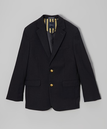 Navy Brass Button Blazer - Boys