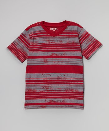 Red & White Stripe Tee - Boys